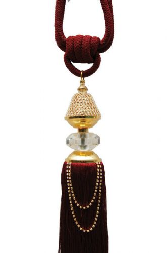 BURGUNDY WINE LARGE TASSELED ROPE CRYSTAL DIAMANTE TIEBACK FRINGED